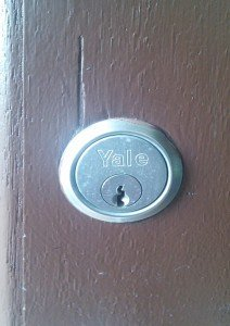 Typical yale lock encountered by 24 hour locksmith edinburgh